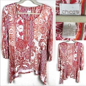 Chico's coral colored pattern tee.